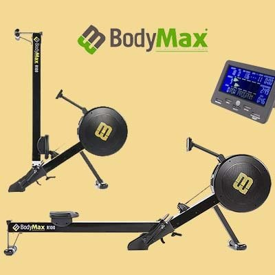 Bodymax Infiniti R100 Rower - Full, Folded and PM display images combined