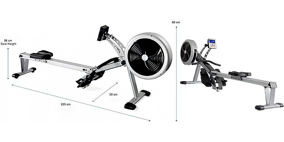 JTX Freedom Air Rower Full view showing measurements