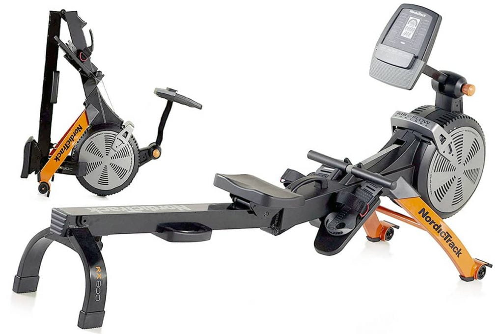 Full and folded view of Nordictrack RX800 rower