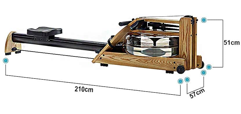 A1 WaterRower Rowing machine Full view and its measurements
